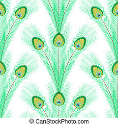 Peacock feathers - Seamless pattern with peacock feathers on...