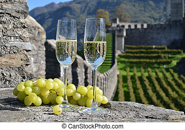 Pair of champagne glasses and grapes. Bellinzona,...