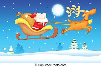 Santa in Sledge - illustration of Santa Claus riding in...