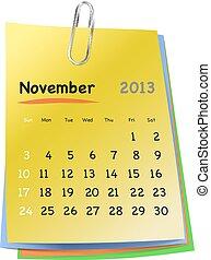 coloridos, notas, pegajoso, novembro, Calendário,  2013