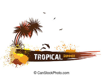 Summer background with palms. Vector card illustration