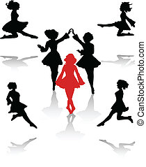 Dancers silhouette of national folk dance of Ireland.
