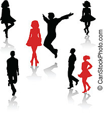 Dancers silhouette of national folk dance of Ireland