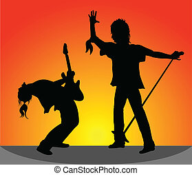 Silhouettes of rock musicians at a
