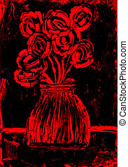 Roses in red and black painting