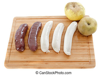 black pudding and white sausages - black pudding sausages...