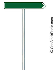 Right road route direction pointer this way sign, green isolated roadside signage, white traffic arrow frame roadsign, grey pole post