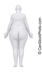 Obese woman in anatomical position posterior view