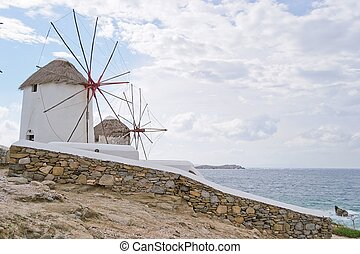 windmills, Mykonos-Greece - structure characteristic of...