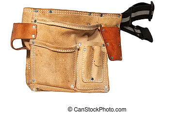 Builders tool belt - Builders handyman empty leather tool...
