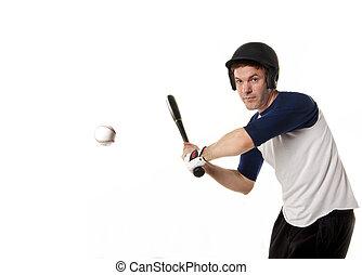 Baseball or softball Player Hitting - Baseball or softball...