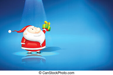 Santa Claus with Gift - illustration of Santa Claus standing...