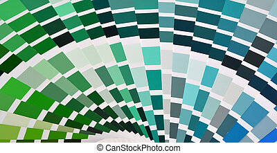 Pantone color sampler in green and blue color