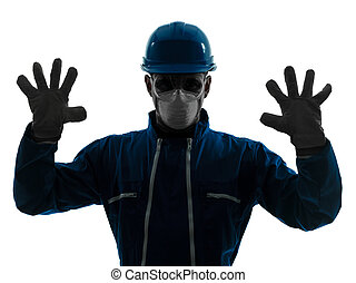 man construction protective workwear silhouette portrait -...