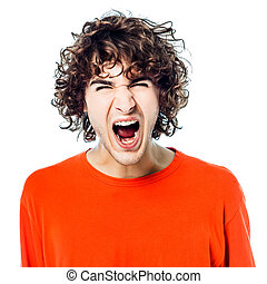 young man screaming angry portrait - one young man caucasian...