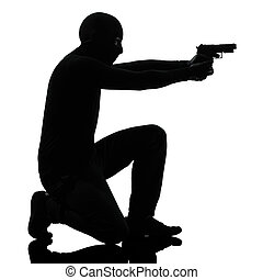 thief criminal terrorist aiming gun man - thief criminal...