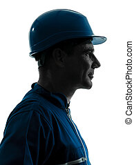 man construction worker profile sideview silhouette portrait...