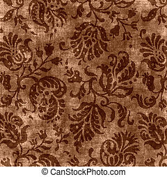 Vintage Brown Floral Tapestry - Worn brown and taupe floral...