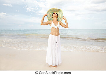 Woman on the beach.