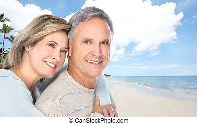 Senior couple on the beach - Happy senior couple on the...