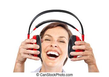 Happy woman with headphones.