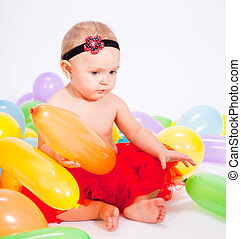 cute little baby child with colorfull balloons birthday...