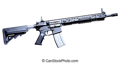 Assault rifle - Semi automatic AR-15 that is isolated on a...