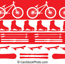 sports Equipment silhouette seamless pattern vector...