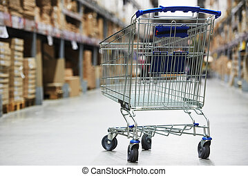shopping cart trolley in warehouse - Shopping trolley cart...