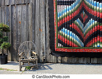 Handmade quilt and rustic chair - Gorgeous handmade quilt...