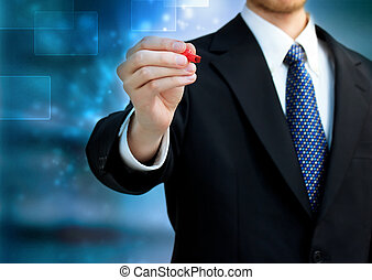 Business man holding a red pen - Young business man holding...