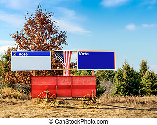 Blank Campaign Signs on Old Fashioned Hay Wagon in Rural America