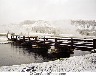 Whiteout on boardwalks in Yellowstone Park - Yellowstone...