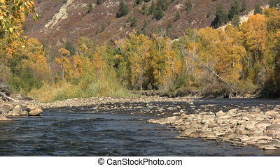 Colorado Mountain River in Fall - a scenic landscape of the...