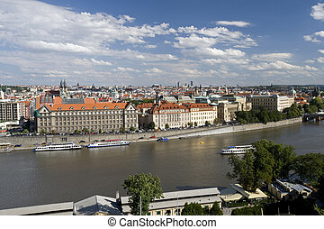 Prague - panoramic view of the Old Town and Vltava River