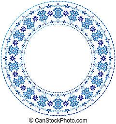 White-blue decorative gzhel frame