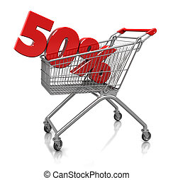 50 percent in cart - Red fifty percent placed in shop cart...