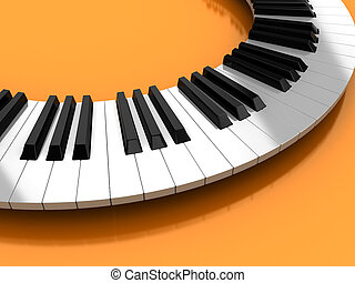Synthesizer - Classic synthesizer over yellow background, 3d...