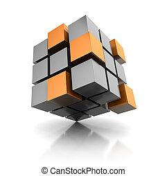 Cube - 3d abstract cube standing on corner