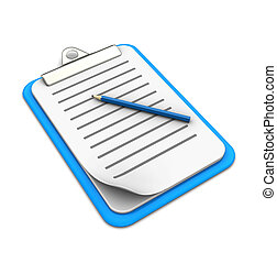 Clipboard with pencil on white background, 3d image