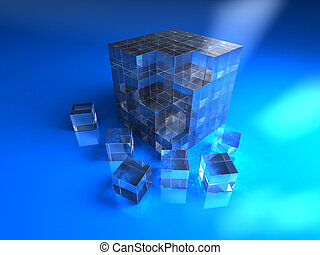 Blue glassy cube - 3d abstract blue glassy cube