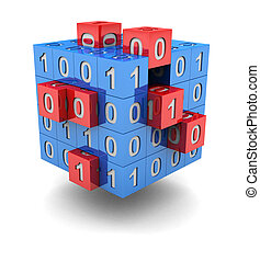 Technology cube with red small cubic and binary code on it