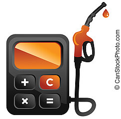 Fuel calc - Concepts illustration of fuel station