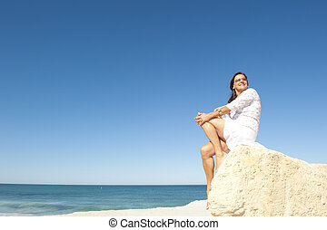 Middle aged woman ocean background - Beautiful senior woman...