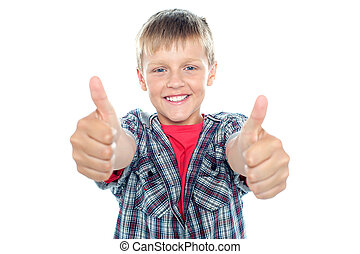 Student flashing double thumbs up with his arms stretched...