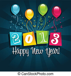 Happy New Year 2013 - Vector colorful 2013 new year card...