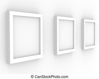 3d picture gallery with frameworks of white color - Picture...