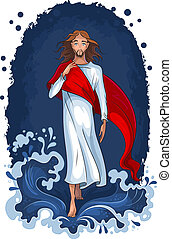 Jesus walking on water - Christian theme. Vector art...
