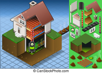 Isometric house with biofuel boiler - Detailed illustration...