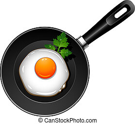 Fried egg on pan over white. EPS 10, AI, JPEG